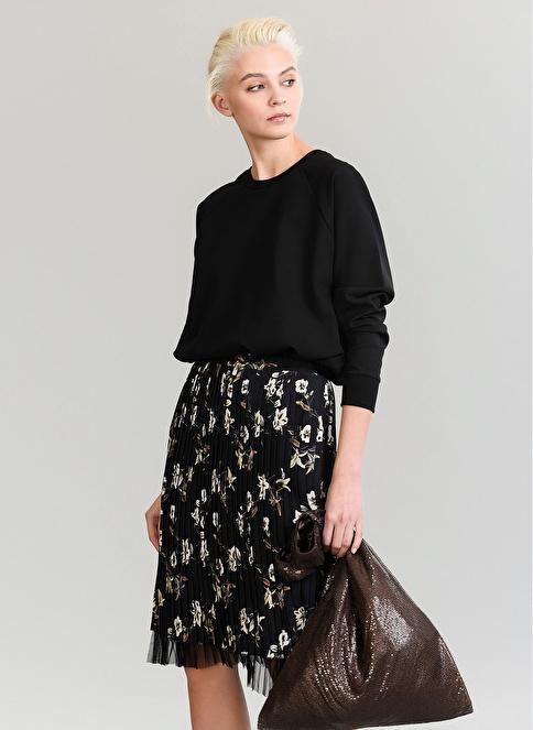 People By Fabrika Nakışlı Sweatshirt Siyah